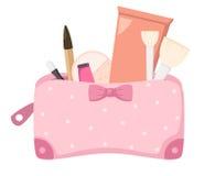 组成与化妆用品的袋子,例证 免版税库存图片