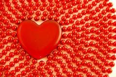 成串珠状玻璃重点红色 免版税库存照片
