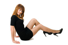 成串珠状美丽的女孩头发的红色 免版税库存图片