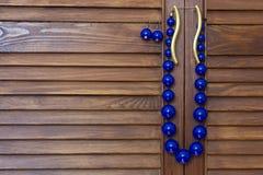 成串珠状蓝色耳环 免版税库存图片
