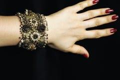 成串珠状镯子玻璃 库存照片