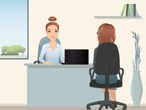 成为歇斯底里的面试工作一他们 HR经理雇用位置的一位专家 职员补充 免版税图库摄影