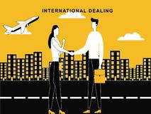 成交概念的人妇女在国际水平 库存例证