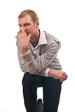 成人人孤立膝部 图库摄影