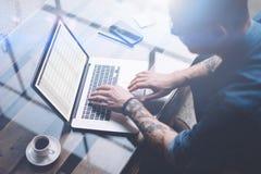 成人刺字了使用膝上型计算机的工友,当工作在晴朗的办公室时 关于笔记本屏幕的财务报告 被弄脏的背景 免版税库存照片