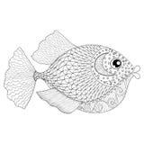 成人反重音着色页的手拉的zentangle鱼,
