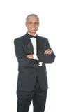 成人变老的男性中间无尾礼服佩带 免版税库存照片