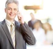 成人女实业家谈话在电话在背景方式下做一个成交,队工作 免版税库存图片