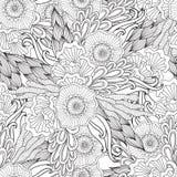 成人彩图的页 手拉的艺术性的种族装饰物仿造了在乱画的花卉框架 库存图片