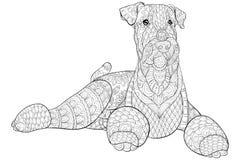 成人彩图,呼叫放松的一条逗人喜爱的被隔绝的狗 禅宗艺术样式例证 免版税库存照片