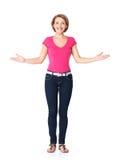 成人愉快的妇女充分的画象有介绍姿态的 免版税库存图片