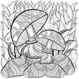 成人的彩图页 场面用蘑菇 库存图片