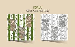 成人的手拉的传染媒介zentangle着色页与逗人喜爱的考拉 皇族释放例证