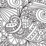 成人的着色页 装饰手拉的乱画自然装饰卷毛传染媒介概略无缝的样式 库存图片
