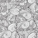成人的着色页 装饰手拉的乱画自然装饰卷毛传染媒介概略无缝的样式 库存照片