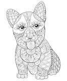 成人着色页与舌头的一条逗人喜爱的被隔绝的狗为放松 禅宗艺术样式例证 库存图片