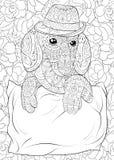 成人着色页戴在花卉背景的一只逗人喜爱的达克斯猎犬一个帽子放松的 禅宗艺术样式例证 图库摄影