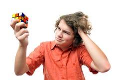 成人解决问题年轻人 免版税库存照片