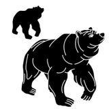 成人黑熊剪影北美灰熊 皇族释放例证