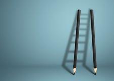成功创造性的概念,与拷贝空间的铅笔梯子 库存图片