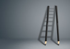 成功创造性的概念,与拷贝空间的铅笔梯子 库存照片