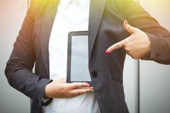 成功和交涉的企业概念 一个妇女上司,在a 库存图片