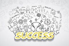 成功文本,有创造性的图画图和图表企业成功战略计划想法,启发概念现代设计templ 免版税库存图片