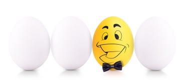成功标志概念用白鸡蛋 免版税库存照片