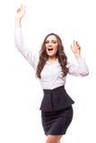成功欣快和年轻女实业家表示  免版税图库摄影