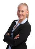 成功白肤金发的女实业家的officegirl 免版税库存图片
