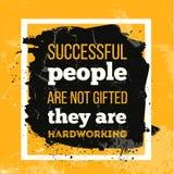 成功的人民不是有天赋的他们是勤勉的 墙壁海报的激动人心的诱导行情 皇族释放例证