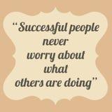 成功的人民从未担心什么其他做着 Vinta 库存照片