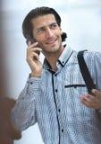 成功的人谈话在电话 库存照片
