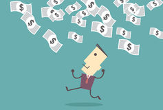 成功的企业家 欧洲落的货币雨天空 成功的生意人 星期一 库存照片