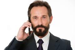 成功的企业电话 在电话前写下信息必须转达,并且任何需要要求客户 商人 库存照片