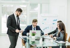 成功的企业队准备新的fi的介绍 免版税图库摄影
