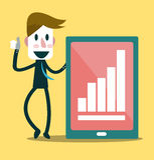 成功的商人和成长曲线图 库存图片