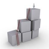 成功的商人和箱子有梯子的 免版税图库摄影