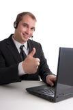 成功的商人在呼叫中心 库存照片