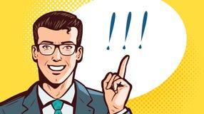 成功的商人或学生有食指的 注意,企业概念 流行艺术减速火箭的可笑的样式 动画片 向量例证