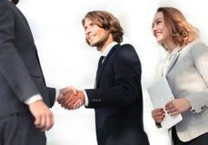 成功的商人握手问候成交概念 免版税库存照片