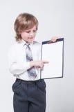 成功的商人显示利润增长图表  免版税库存照片