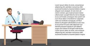 成功的商人有工作场所的基于在办公室 传染媒介人经理坐椅子,他的在桌上的脚 免版税库存图片