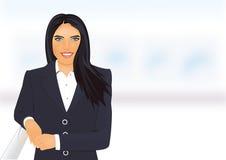 成功的女商人微笑的美丽的画象 库存图片