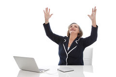 成功的女商人-在白色backgr隔绝的老妇人 库存照片
