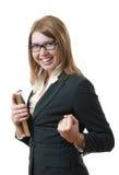 成功的愉快的妇女 免版税库存照片