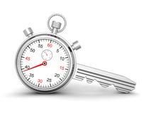 成功的时刻 有锁住钥匙的概念秒表 免版税库存照片