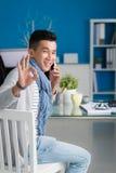 成功的电话交涉 免版税库存图片