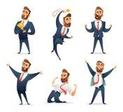 成功的迷人的商人字符的汇集用不同的动态姿势 经理享用胜者 库存例证