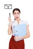 成功的年轻女商人有一个新的创造性的想法 查出 免版税库存图片